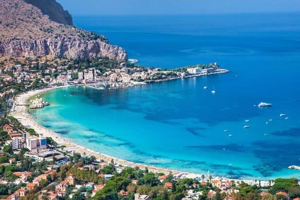 Panoramic view on Mondello white sand beach in Palermo