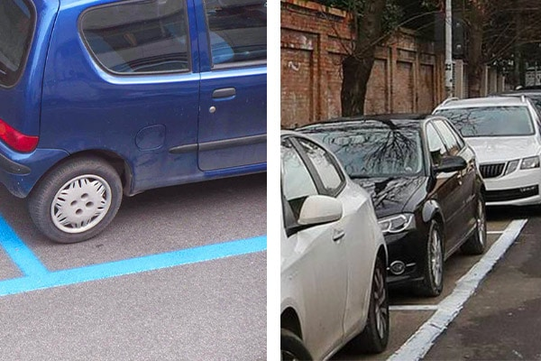 Bli and white line parking in Palermo